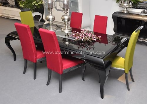 New York Dining Set in Glossy Black